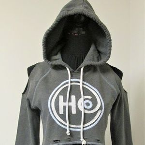 Hollister Distressed & Cropped Hooded Sweatshirt
